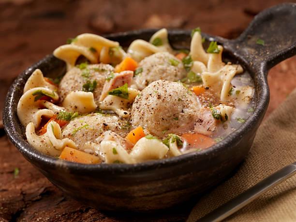 matzah ball soup - dumplings stock photos and pictures