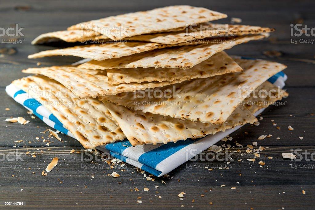 Matzah, matza, matzo, unleavened bread stock photo