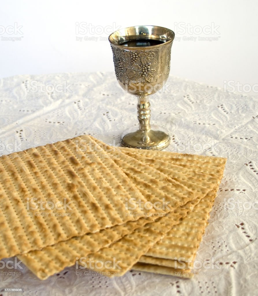 Matzo and Kiddush Cup with Wine royalty-free stock photo