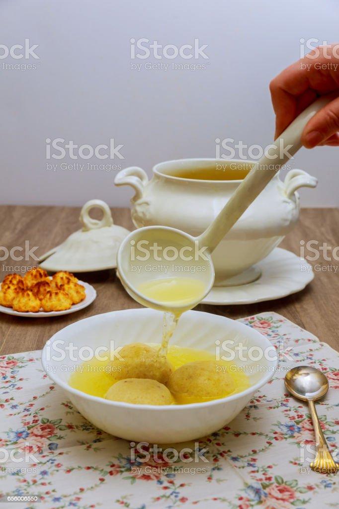Matzo Matzah balls soup homemade healthy stock photo