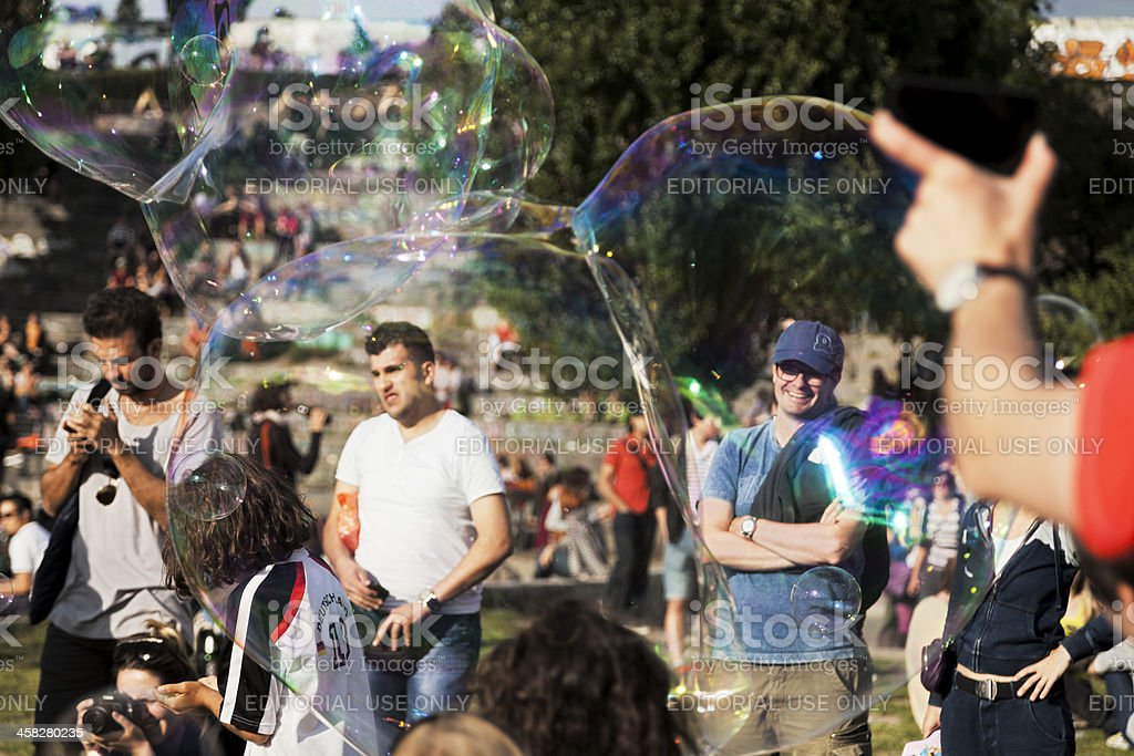 Mauerpark Crowd through Soap Suds royalty-free stock photo