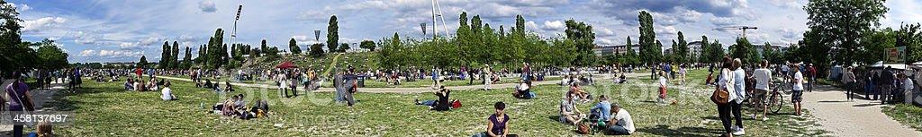 Mauerpark Flee Market Sunday Panorama royalty-free stock photo