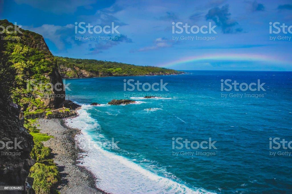 Maui Beach Rainbow stock photo