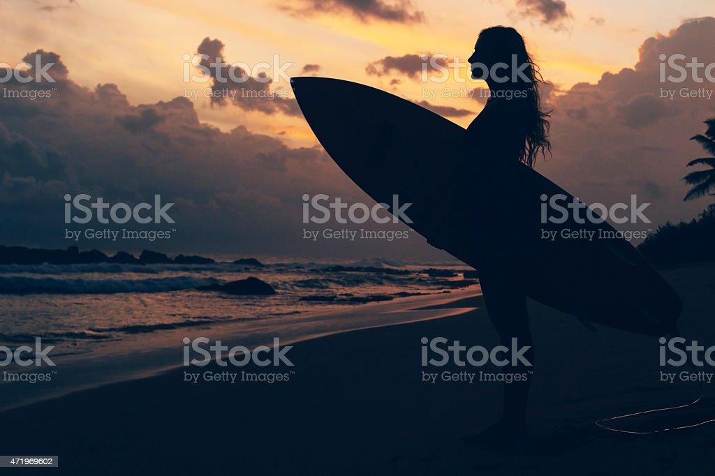 Maui beach sunset travel advertisement Surfing. Sunset. Surf girl 2015 Stock Photo