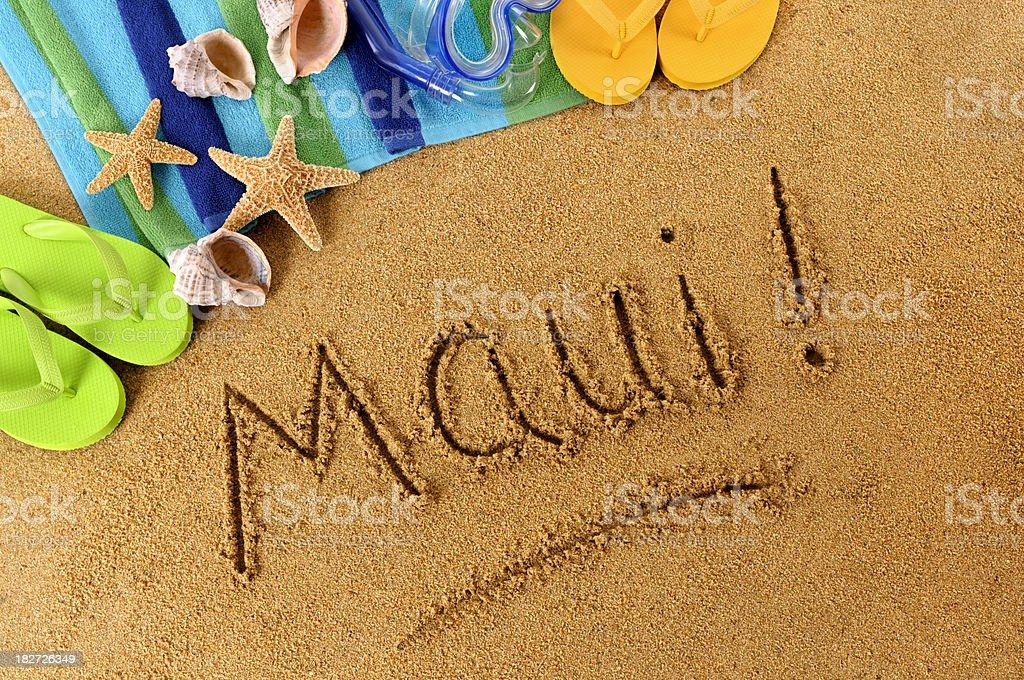 Maui! beach writing royalty-free stock photo