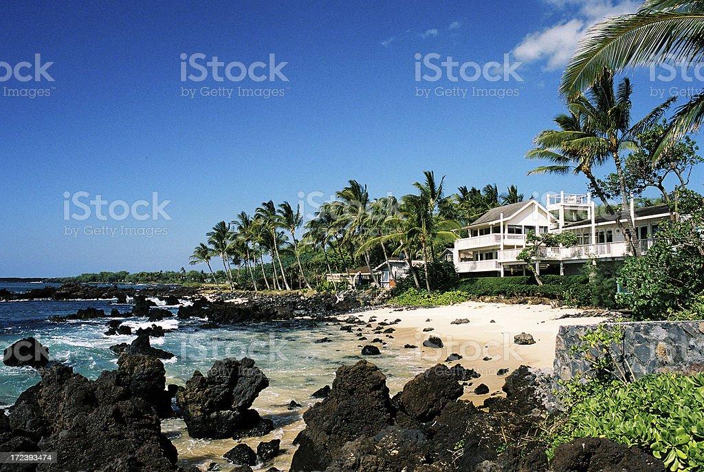 Maui Hawaii beach front house mansion stock photo