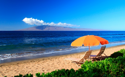 Maui Hawaii Pacific Ocean Beach And Lounge Chairs Stock ...