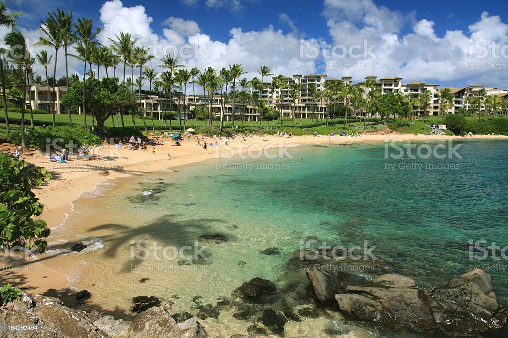 Maui Hawaii Pacific ocean beach resort hotel scene stock photo