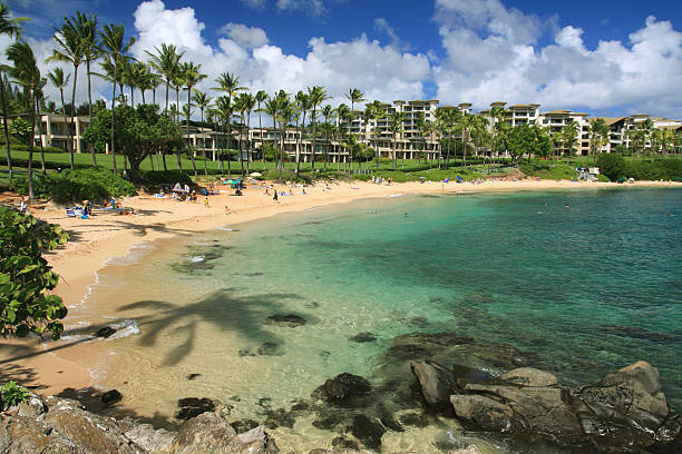 Maui Hawaii Pacific ocean beach resort hotel scena - foto stock