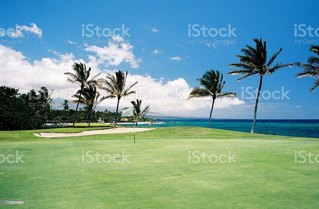 Maui Hawaii Pacific ocean front golf hole stock photo