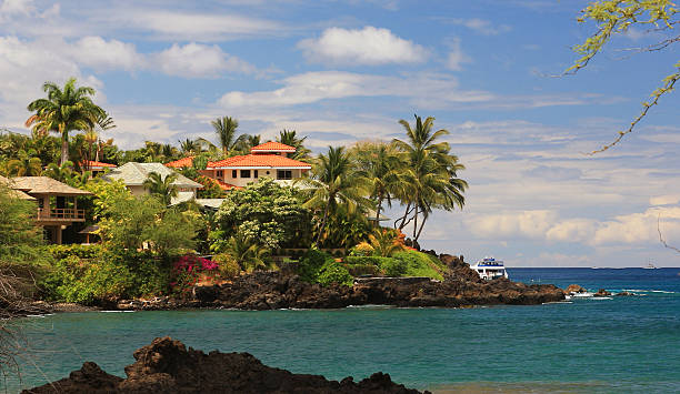 maui hawaii pacific ocean front homes and palm trees - hawaii home stock photos and pictures