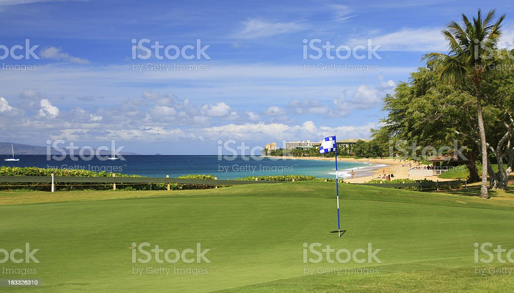 Maui, Hawaii Pacific ocean front resort hotel golf course green royalty-free stock photo