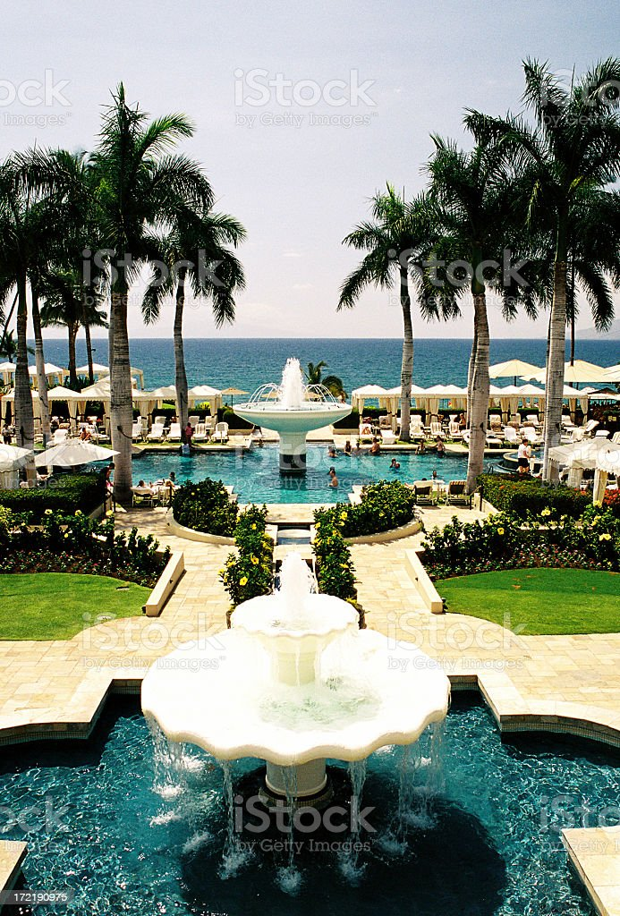 Maui Hawaii Pacific ocean palm tree resort hotel scene royalty-free stock photo