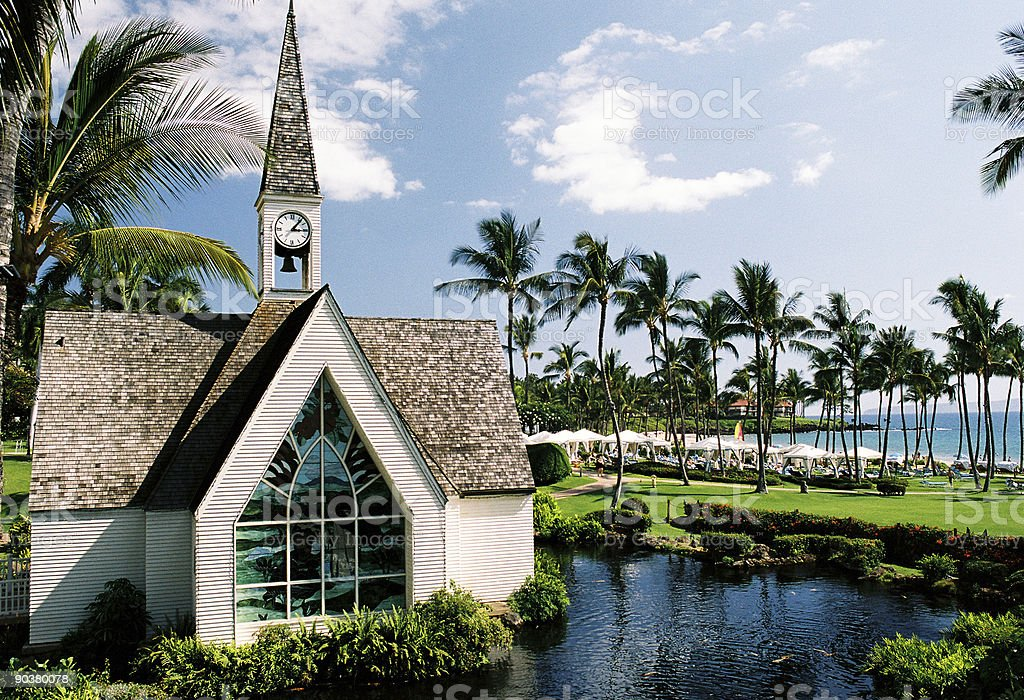 Maui Hawaii Resort Hotel Palm Tree Wedding Chapel Church Royalty Free Stock Photo