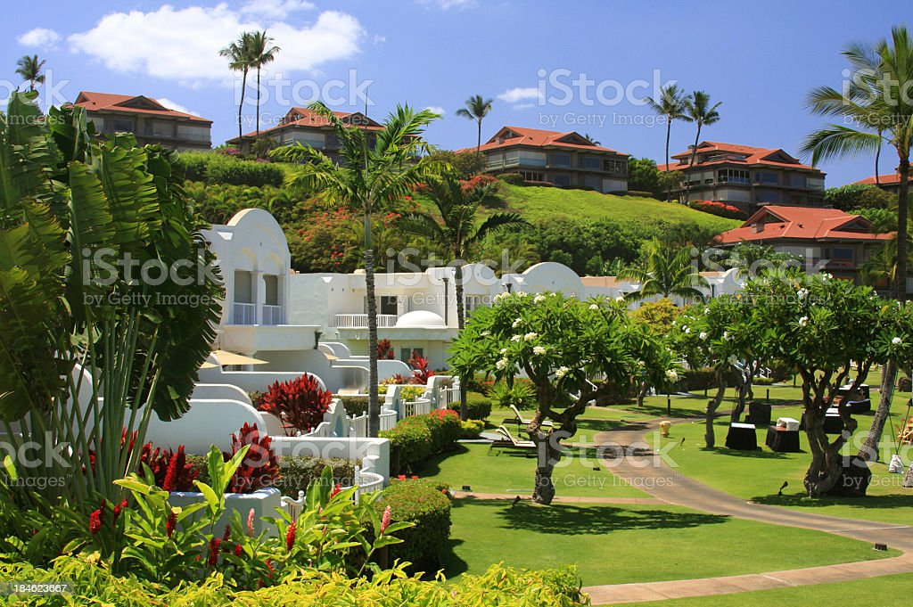 Maui Hawaii resort hotel stock photo