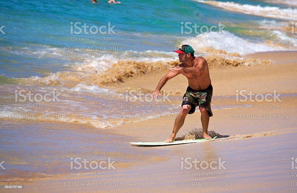 Maui skimboarding stock photo