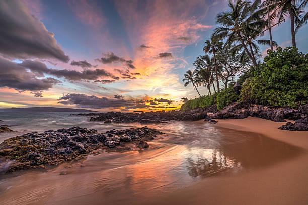 Maui sunset wonder stock photo