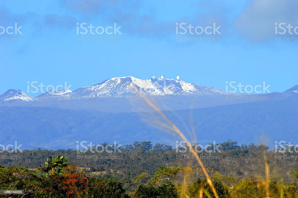 Mauna Kea and Snow capped Peaks stock photo