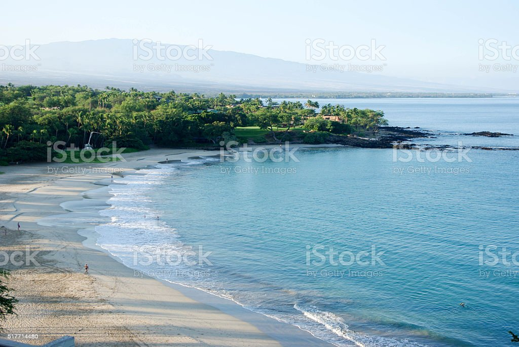 Mauna Kea Beach in the morning (Kaunaoa beach) stock photo