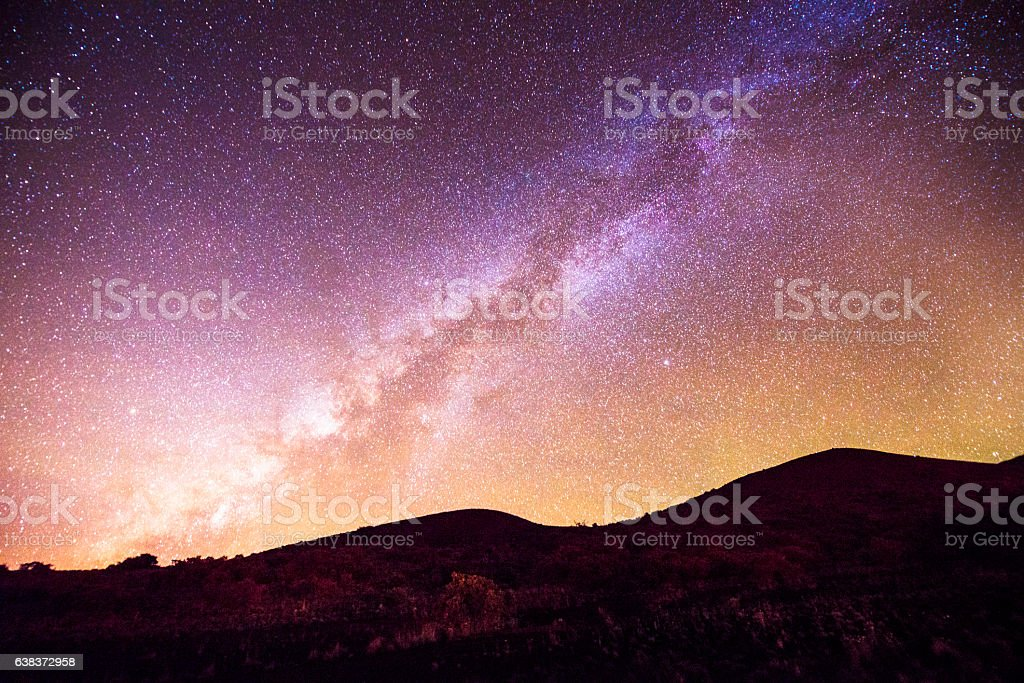 Mauna Kea Milky Way Night Sky Mountain Silhouette Kona Hawaii stock photo