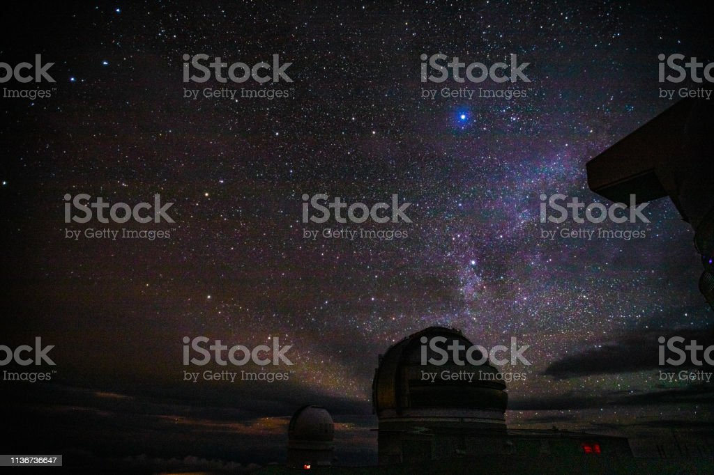 Mauna Kea Observatories and Stars at Night. Big Island, Hawaii USA stock photo