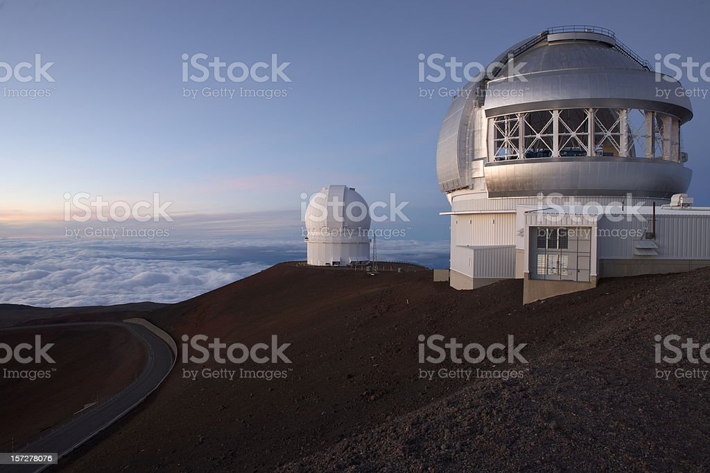 Mauna Kea observatories at sunset, Gemini telescope stock photo