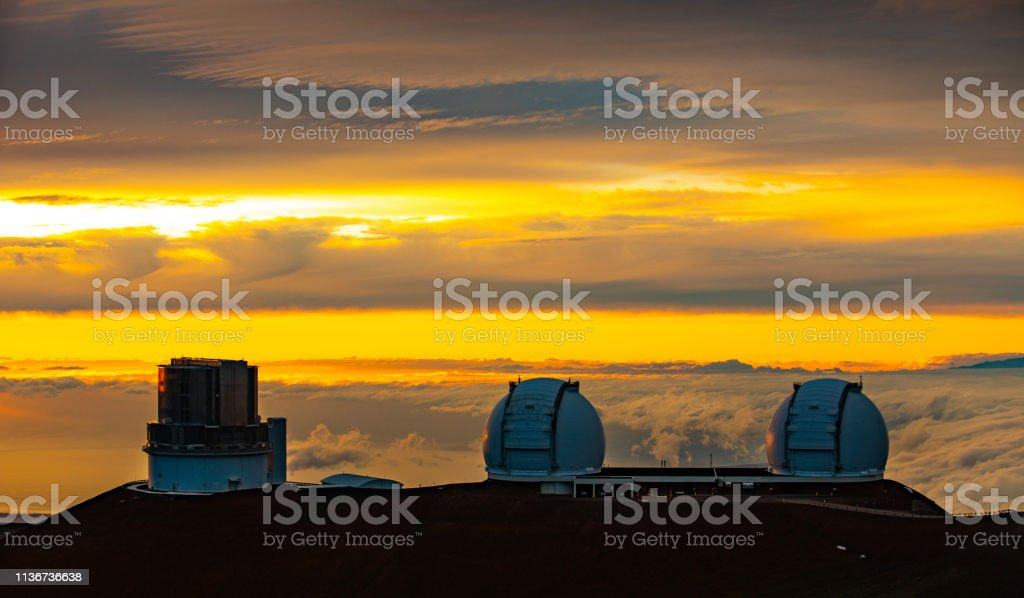 Mauna Kea Observatories Big Island, Hawaii USA stock photo