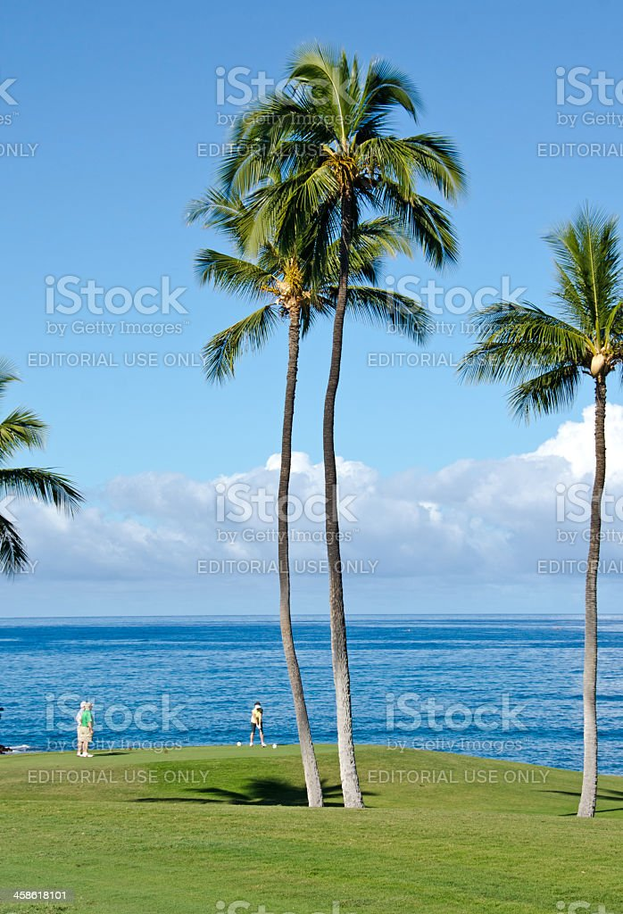 Mauna Kea Oceanside Golf Fairway stock photo