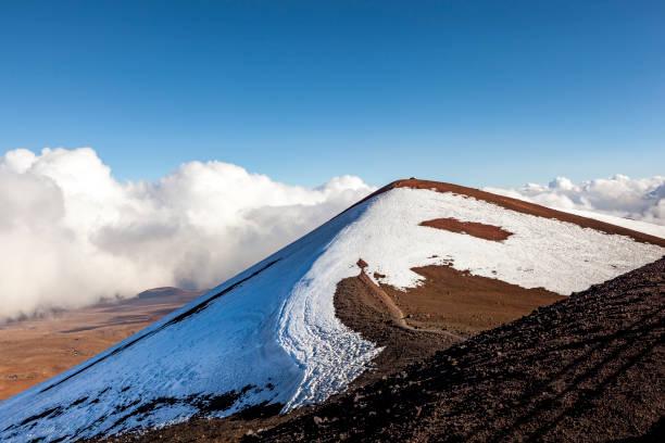 mauna kea volcano peak snow capped, big island hawaii stock photo