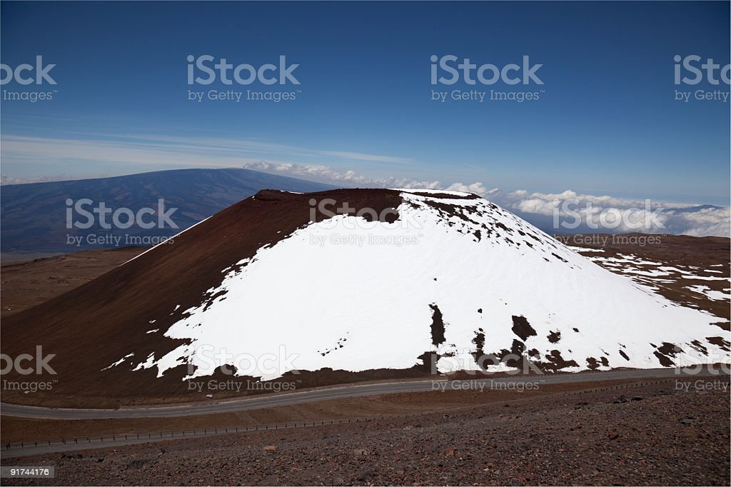 Mauna Kea with Snow in Winter on the Big Island stock photo