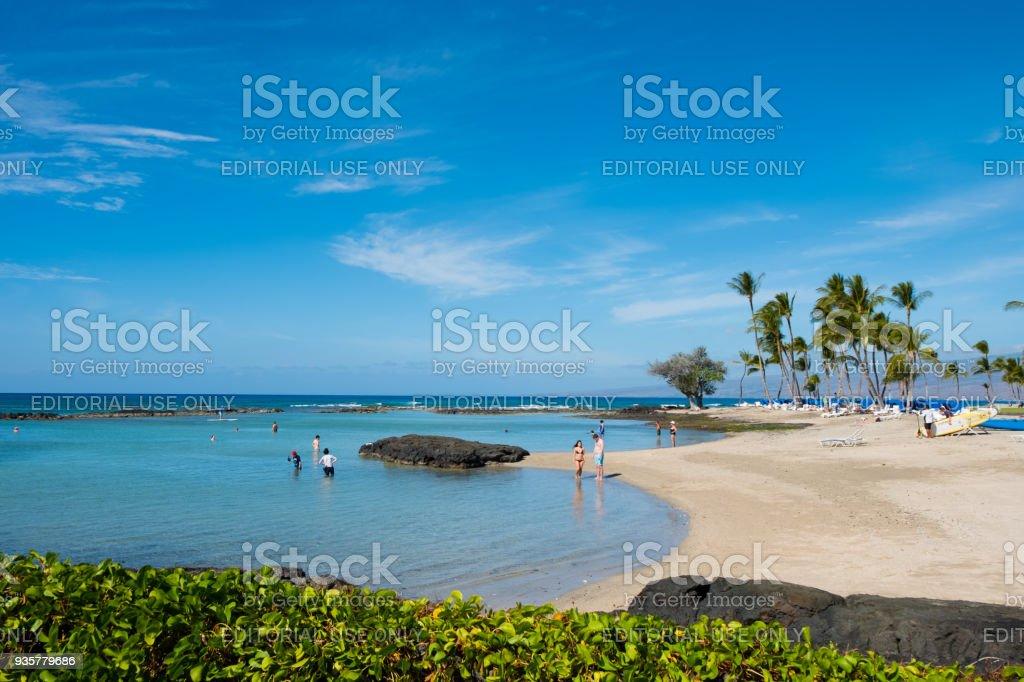 Mauna Lani Bay Big Island Hawaii stock photo