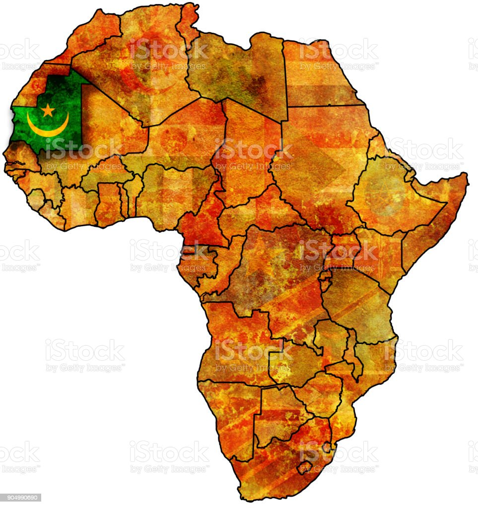 mauritania flag on political map of africa stock photo