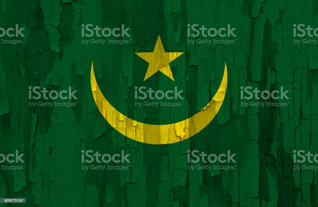Mauritania flag painted on a wooden surface stock photo
