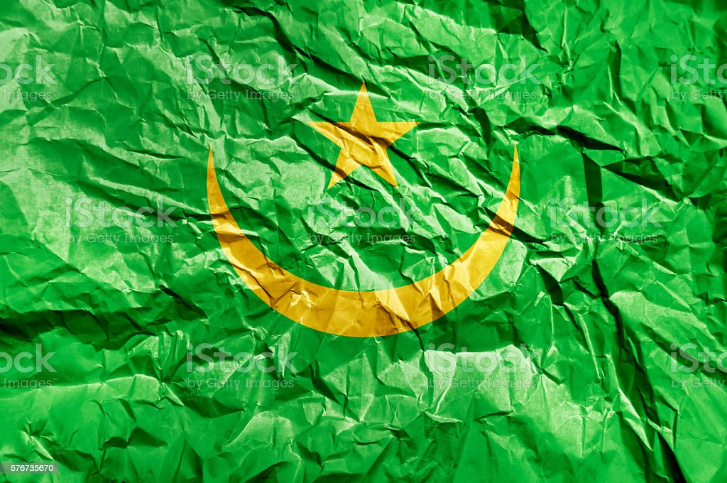Mauritania flag painted on crumpled paper background stock photo