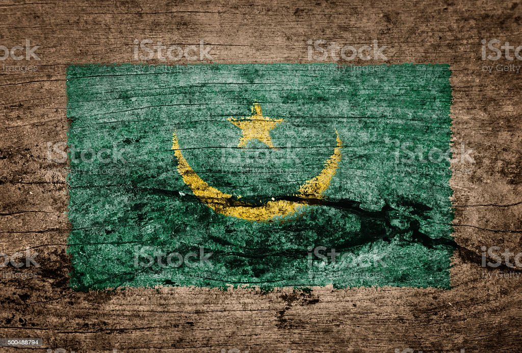Mauritania flag painted on wood background stock photo