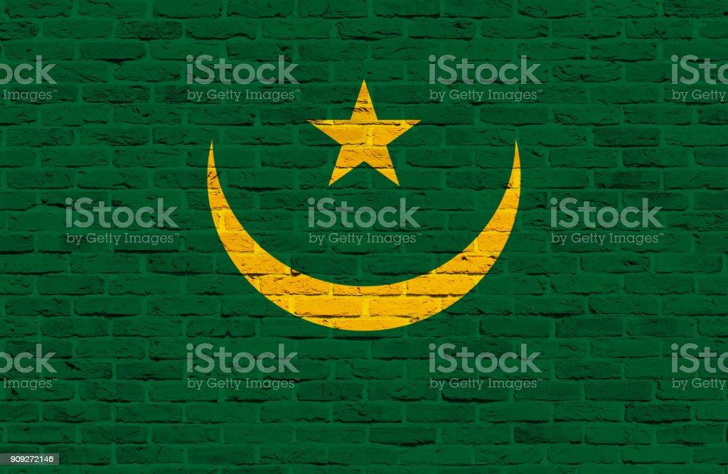 Mauritania flag painted over brick wall stock photo