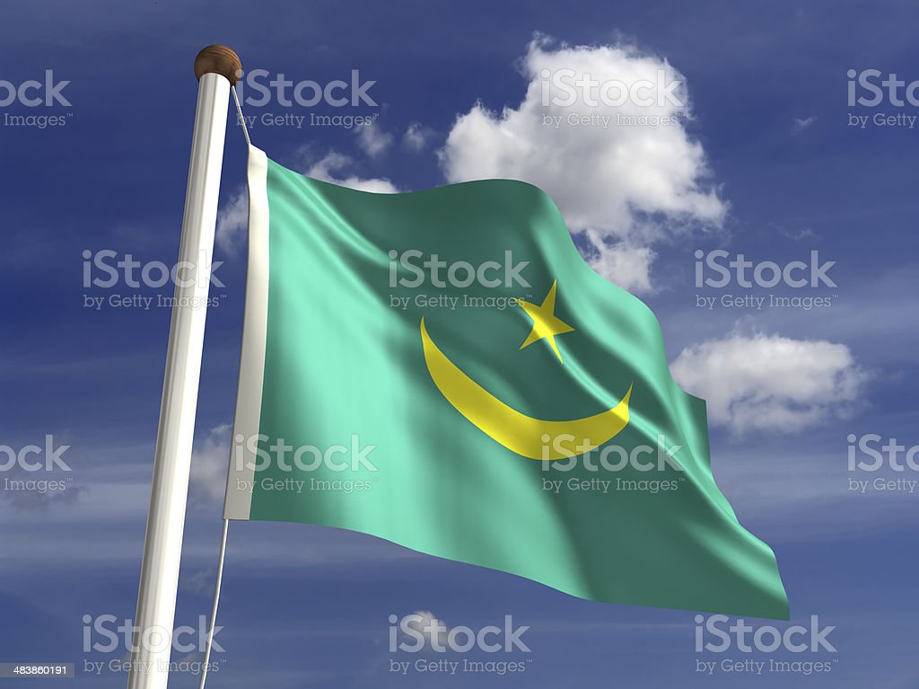 Mauritania flag (with clipping path) stock photo