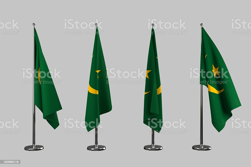 Mauritania indoor flags isolate on white background stock photo