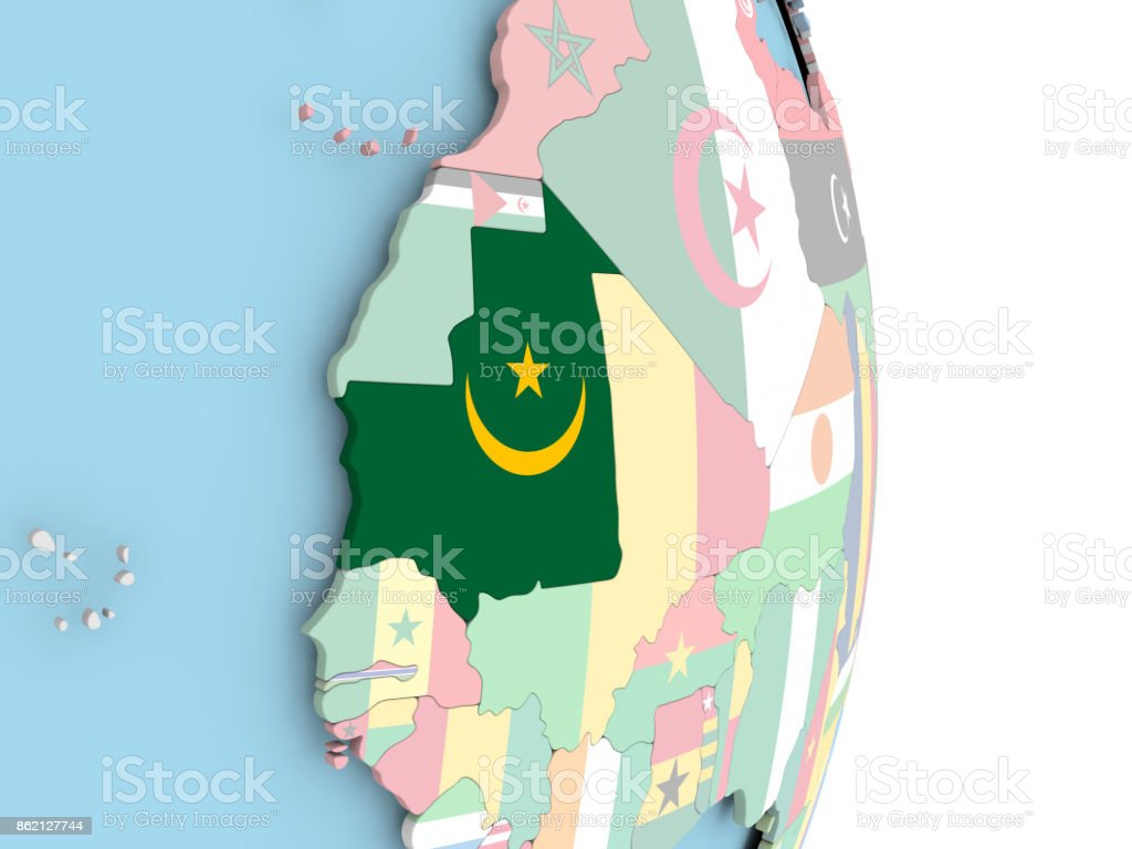 Mauritania with flag on globe stock photo