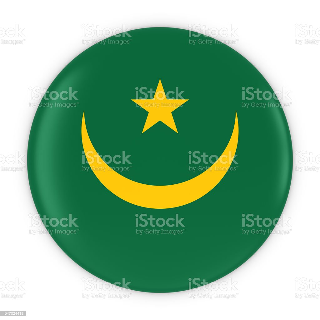 Mauritanian Flag Button - Flag of Mauritania Badge 3D Illustration stock photo