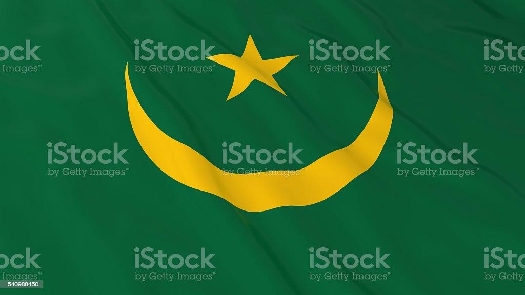 Mauritanian Flag HD Background - Flag of Mauritania 3D Illustration stock photo