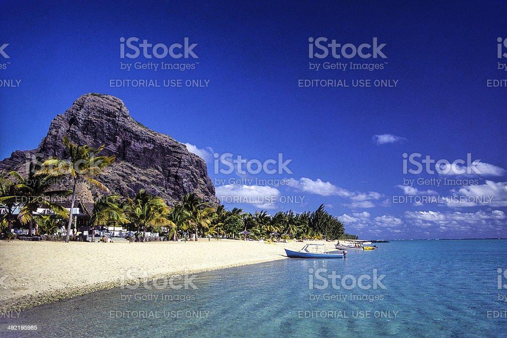 Mauritius, Black River Province, beach at Le Morne. stock photo