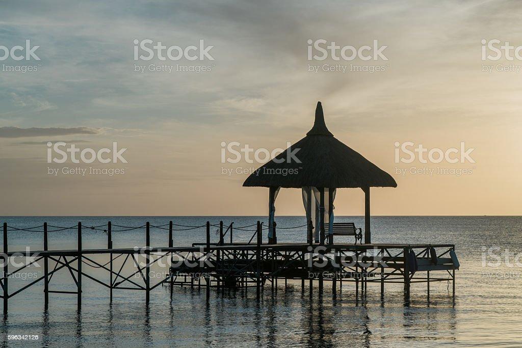 Mauritius Island Jetty Pavillion at Sunset Africa Lizenzfreies stock-foto