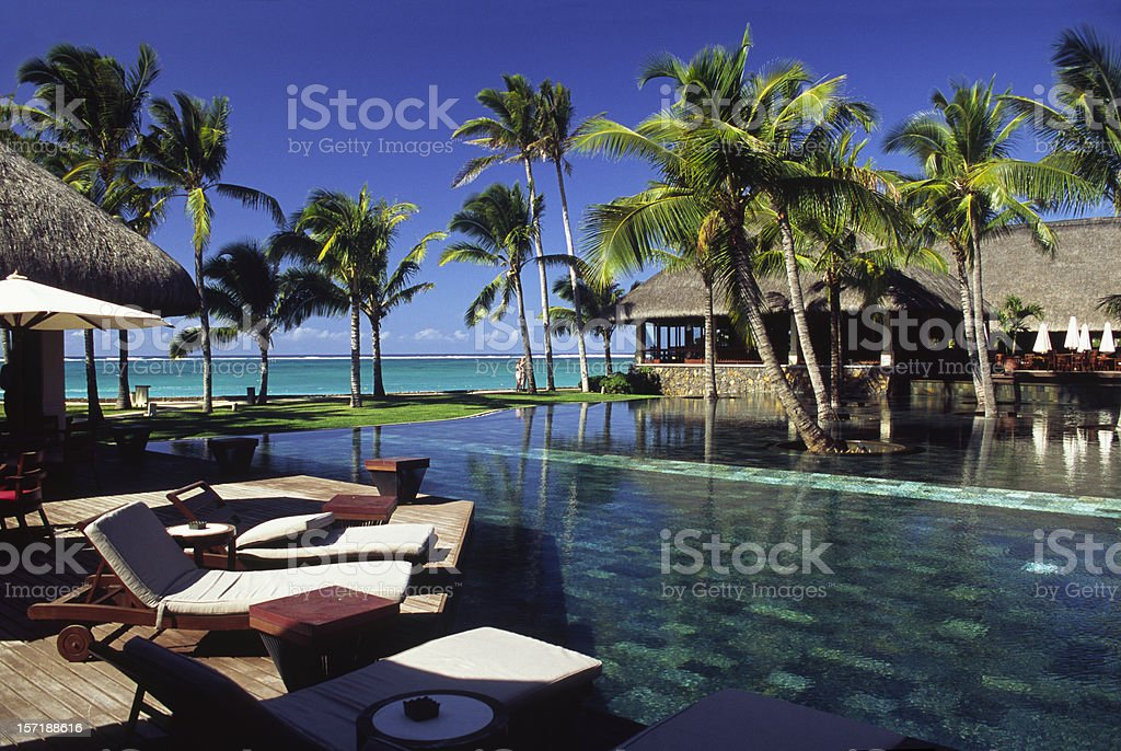 Mauritius pool and beach royalty-free stock photo