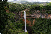 Chamarel waterfall and cliff in the tropical jungle of Mauritius