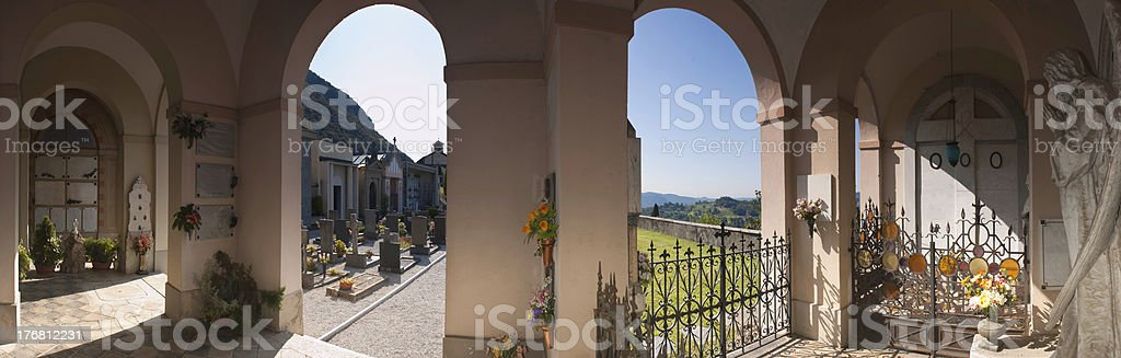 Mausoleum and graveyard panorama in Italy. stock photo