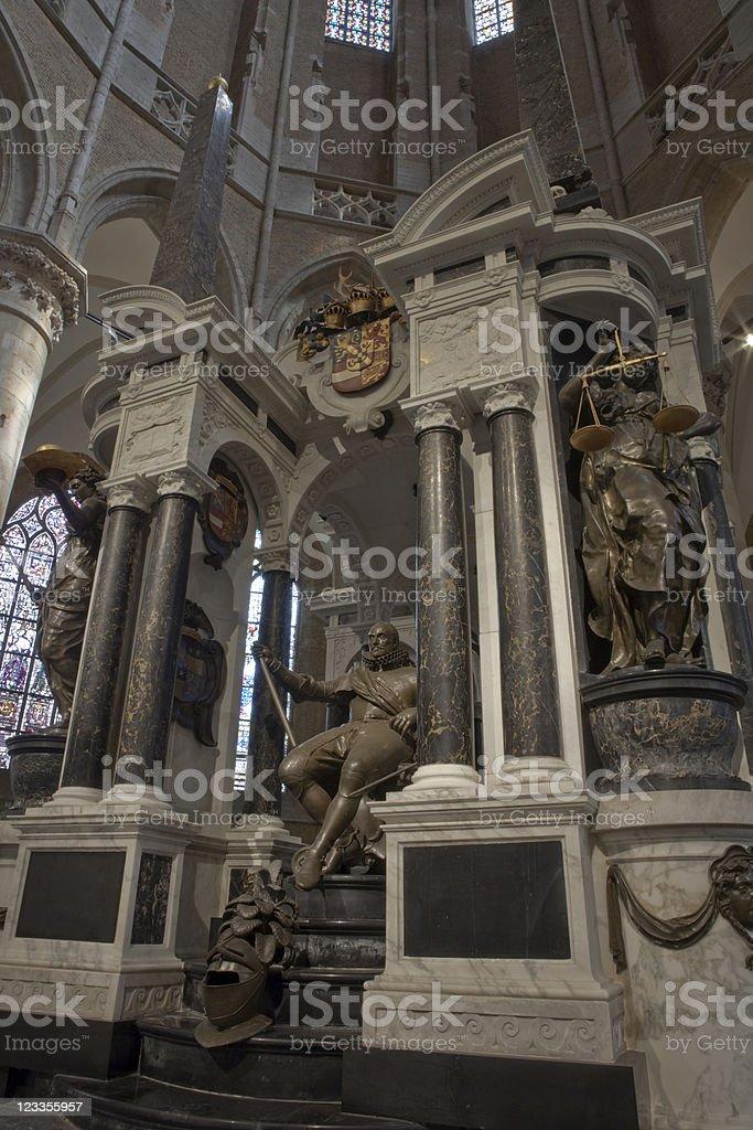 mausoleum for Prince William of Orange in Delft's Nieuwe Kerk stock photo