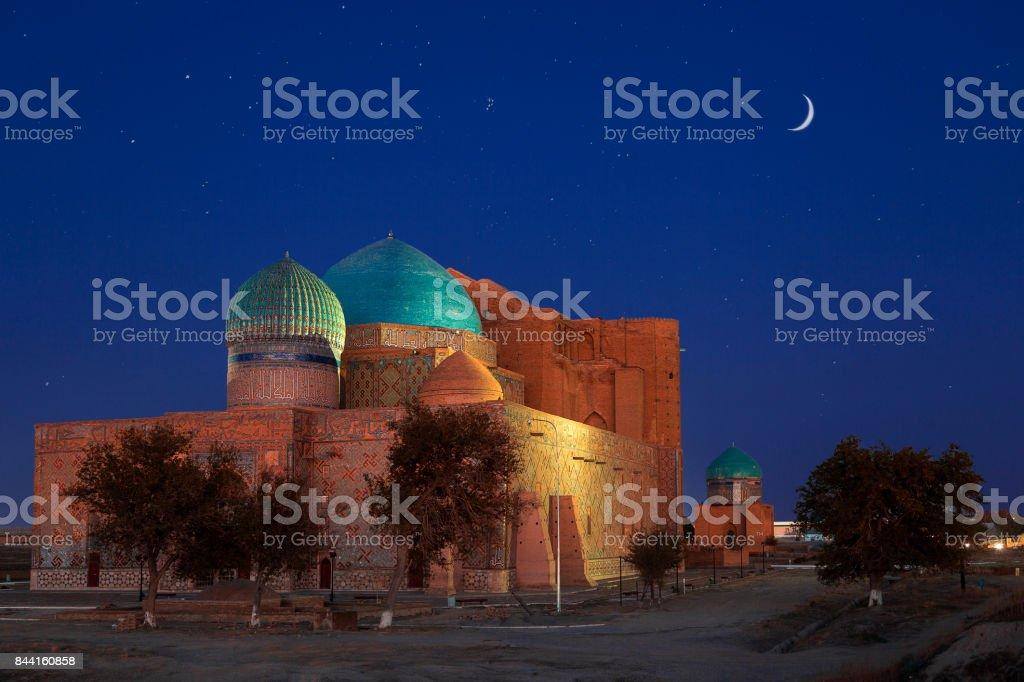 Mausoleum of Khoja Ahmed Yasawi, Turkestan, Kazakhstan. stock photo