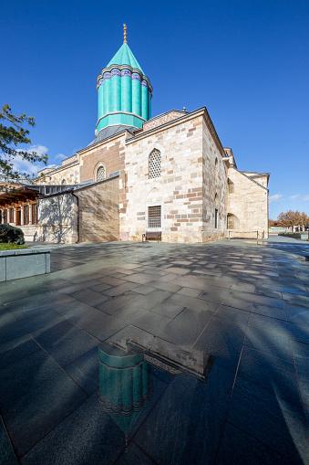 Konya, Turkey - December 10, 2018: Mausoleum of Mevlana who is the founder of dervish philosophy in Konya, Turkey