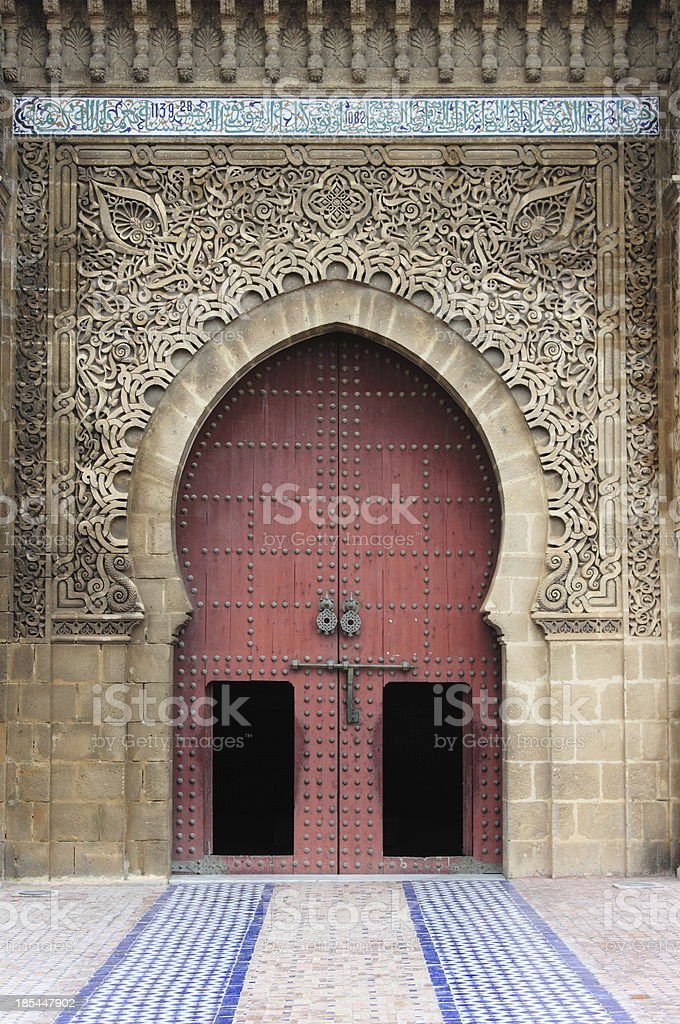 Mausoleum of Mouley Ismail in Meknes stock photo